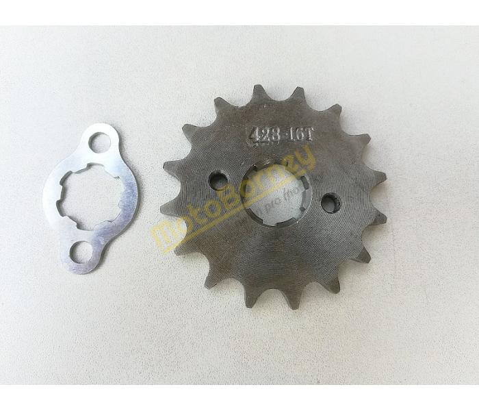 Řetězové kolečko 428 - 16T + pojistka na pitbike, dirtbike, čtyřkolku