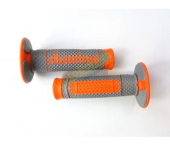 Gripy Domino na motocykl šedo-oranžové