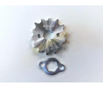 Řetězové kolečko 420 - 14T + pojistka na pitbike, dirtbike, čtyřkolku
